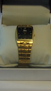 NEW Mens Sunborn Swiss Watch 23K Gold Plated,