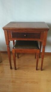 Vintage table and stool with Singer sewing machine in it