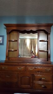 Dresser and mirror, dark wood, good condition, available at 15th