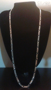 "26"" 4mm silver figaro chain"