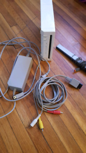 Wii Console with wires and sensor