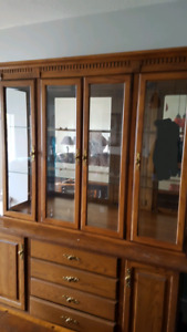 Two piece Display cabinet & hutch for sale