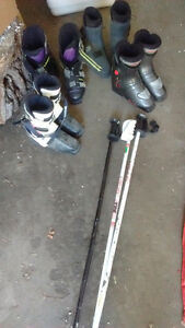 Miscellaneous ski boots and polls