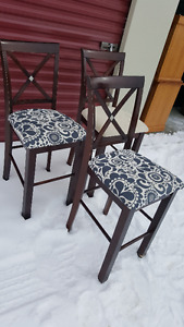 3 Cherry Counter/Pub Height High Dining Room Chairs