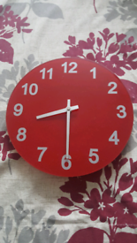 Red glass bedroom wall clock