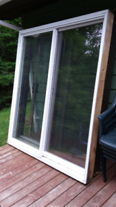 "Wood and Vinyl Patio door. 71"" wide"