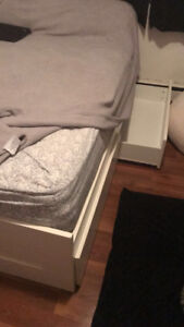 Double bed, mattress, dresser and mirror