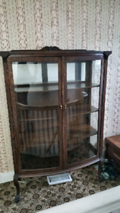 1920's bow front China cabinet
