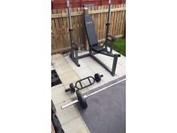 Weight bench for sale with 100kg of weights