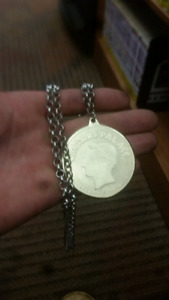 Chain and gold plated medallion for sale
