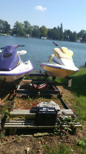 2  Seadoos with double trailer and marine ramp