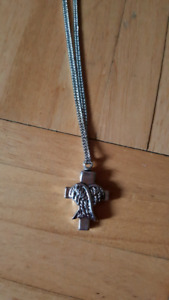 Brand new cross with wings cremation necklace