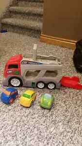 Transport truck and cars $10.