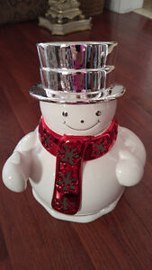 SNOWMAN CANDLE HOLDER LUMINARY - FROM BED & BATH LARGE CANDLES