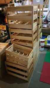 Wine crates and bottles