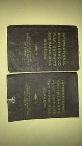 Old paper mill work stamp books from the 50s
