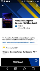 Avengers Endgame Opening Night Fan Event Apr. 25 5pm (2 tickets)