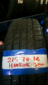 215 70 16 MATCHING HANKOOK TYRES 8MM X4 £140 INC FIT N GAL OPEN 7 DAYS