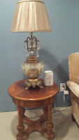 Formal Gold and Cream Glass Lamps - Moving, must sell