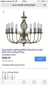 2 x Gun Metal Grey Zanzibar 8 Candle Ceiling Light - bargain at £100 per light (£200 for pair)