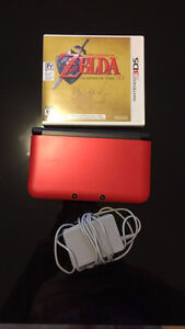 Red Nintendo 3DS XL w/ Charger & Zelda Game
