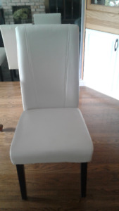 White Leather parsons chairs