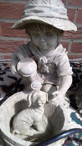 2 GARDEN STATUES AND FOUNTAIN