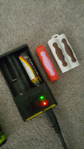 4 18650 batteries and charger with extras UPDATED