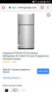 Stainless steel frigidaire fridge