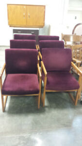 6 maroon chairs