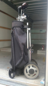 golf cart and left handed clubs
