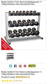 Rubber hex dumbells set and stand.