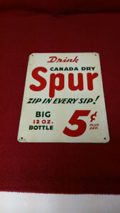 VINTAGE CANADA DRY SIGN - DRINK CANADA DRY SPUR!
