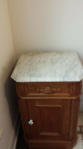 Antique Accent Table with Marble Top