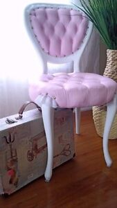 Pink and White Victorian Parlour accent Antique Chair