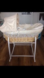 Cream Clair De Lune Moses Basket with white rocking stand