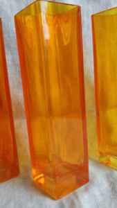 Orange Glass Vases Swedish Design Retired
