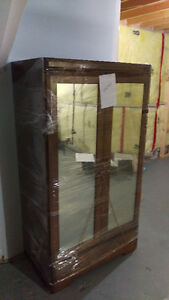 Vintage Solid Wood Wardrobe Dresser w Mirrors and Drawer 1960s