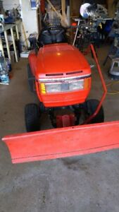 RIDE ON LAWN MOVER WITH PLOW