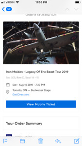 Iron Maiden Tickets Legacy of the Beast Tour -Saturday August 10