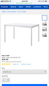 Ikea Melltorp table and chairs + lack bench
