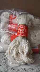 Six skeins cotton knitting yarn, off-white