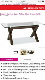 Lyon walnut Glass top Dining Table REDUCED
