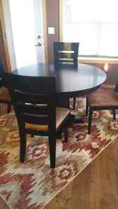 Solid Wood Black Table + 4 Table Chairs and 3 Island Chairs Regina Regina Area image 1