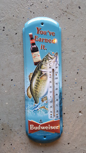 Fishing tin thermometer budweiser