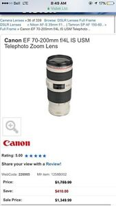 Canon zoom lens 70-200mm telephoto zoom lens
