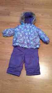Purple and blue snow suit