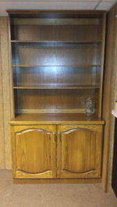 Oak Shelving Unit and Storage Cabinet - Moving Must Sell
