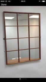 Retro/ industrial rectangle wooden window mirror