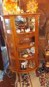 Antique solid wood display cabinet